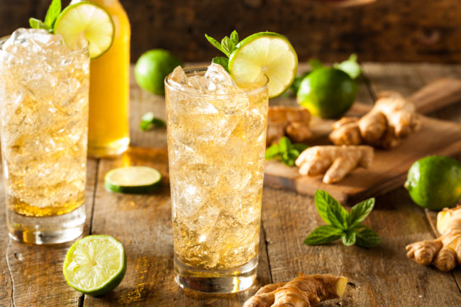 Recipe:Refreshing Golden Ginger Beer with Lime and Mint